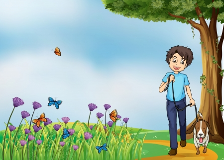 Illustration of a young boy walking with his pet Vector