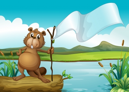 Illustration of a beaver holding a wood with an empty banner Stock Vector - 17868049