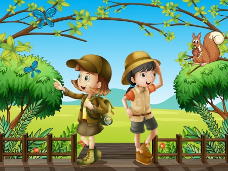 man looking at sky: Illustration of a girl and a boy at the wooden bridge Illustration