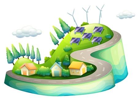 windfarm: Illustrazione di una vista completa di una citt� con i mulini a vento Vettoriali