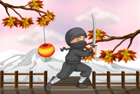 Illustration of a ninja with a sword Stock Vector - 17867935