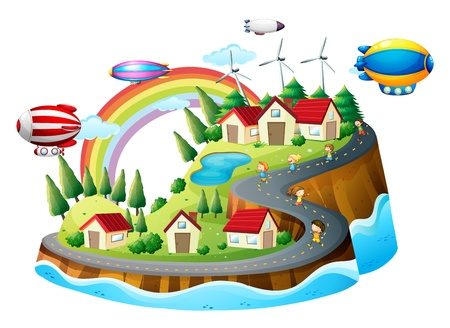 floating island: Illustration of a village view with kids on a white background