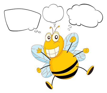 thinks: Illustration of a bee with empty callouts on a white background