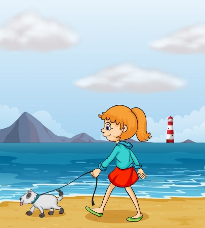 dog walk: Illustration of a girl strolling at the beach with a puppy