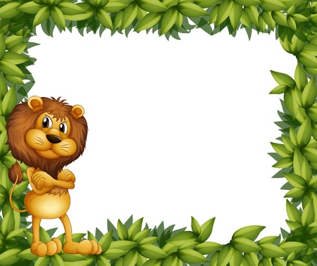 lion tail: Illsutration of a lion at the left side of a leafy frame