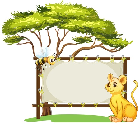 Illustration of a young tiger and a bee beside an empty space on a white background Vector