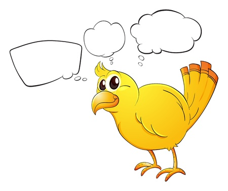 thought bubbles: Illustration of a young bird on a white background Illustration
