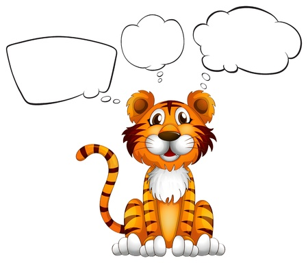 speach: Illustration of a tiger with empty callouts on a white background
