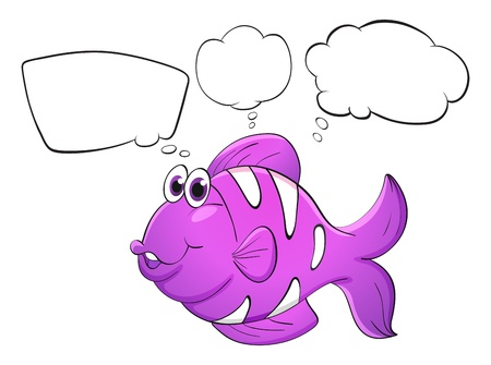 bubble speach: Illustration of a purple fish with empty callouts on a white background Illustration
