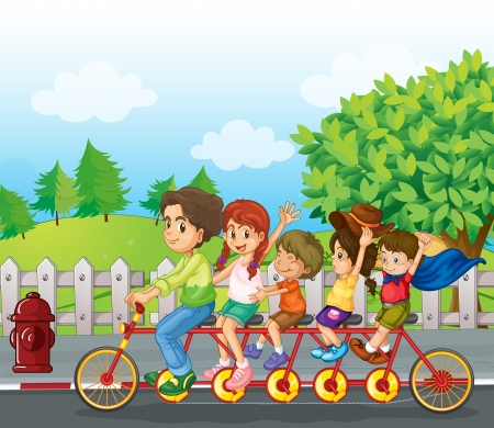 Illustration of a family bike Illustration
