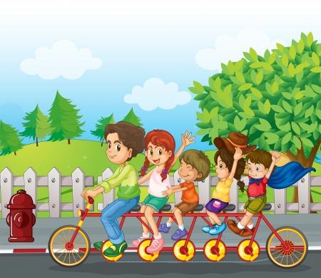 family clipart: Illustrazione di una bicicletta famiglia