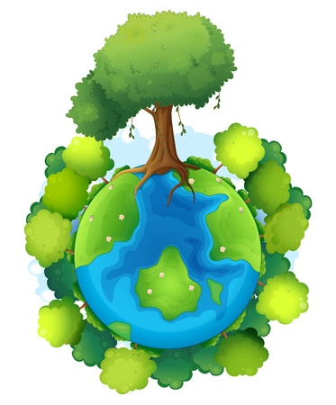 waterbesparing: Illustratie van de moeder aarde op een witte achtergrond