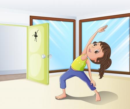 pies bailando: Ilustración de una niña en el calentamiento de una habitación