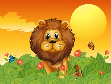 Illustration of a lion and the butterflies Vector
