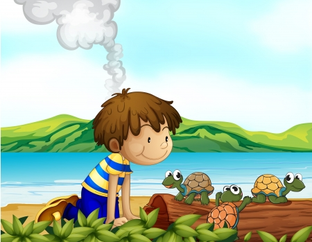 Illustration of a boy watching the three turtles Vector