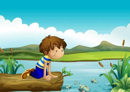 cartoon fishing: Illustration of a young boy watching the fishes