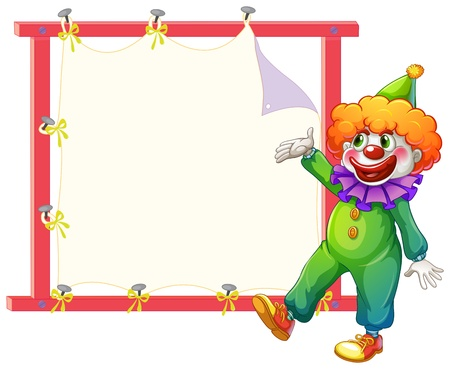 clown: Illustration of a clown beside an empty signage on a white background
