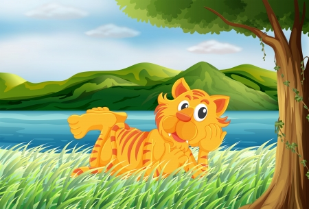 Illustration of a tiger relaxing at the grass Stock Vector - 17868286