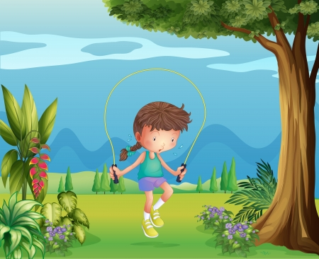 Illustration of a girl playing jumping rope near the tree Stock Vector - 17869283