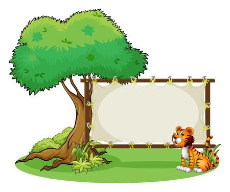 bebe a bordo: Ilustraci�n de un tigre que se sienta en el lado derecho de una se�alizaci�n sobre un fondo blanco Vectores