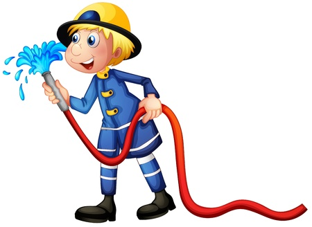 water hoses: Illustration of a fireman on a white background