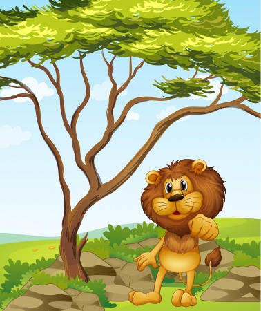 Illustration of a lion at the hills Stock Vector - 17867823
