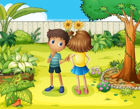 illsutration: Illsutration of a boy and a girl arguing in the garden