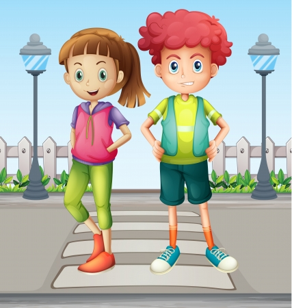 brother and sister cartoon: Illustration of kids at the pedestrian lane