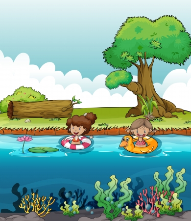 floating on water: Illustration of two girls at the river Illustration
