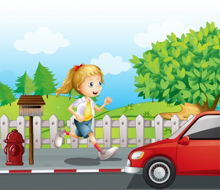 Illustration of a girl running along the road Stock Vector - 17867939