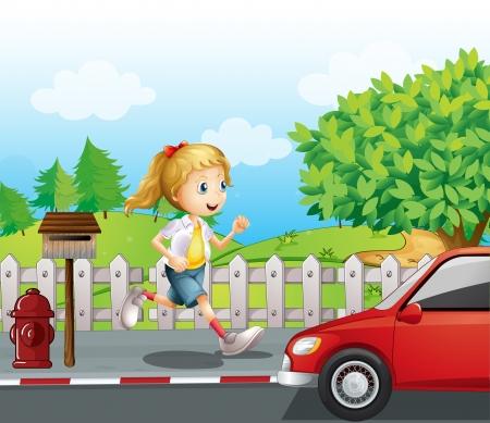 Illustration of a girl running along the road Illustration