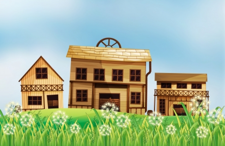 Illustration of the wooden houses at the hill Vector