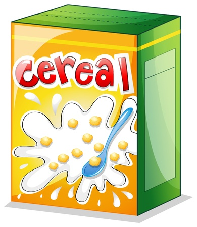 cereal box: Illustration of a cereal on a white background