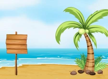 coconut tree: Illustration of a coconut tree and an empty board at the beach