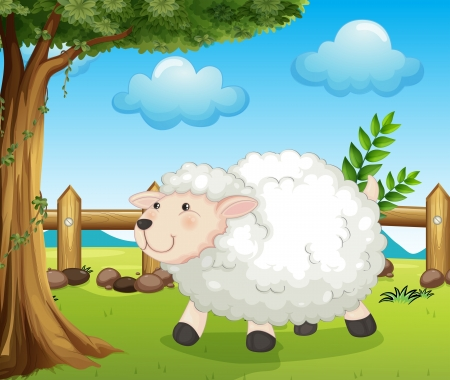 Illustration of a sheep inside the fence Vector
