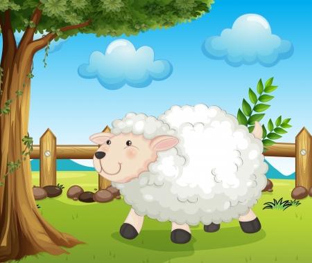 Ilustración de una oveja dentro de la cerca