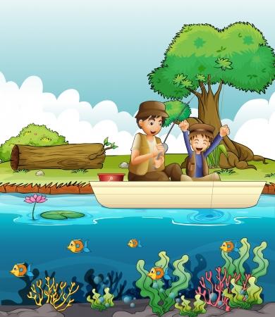fishing scene: Illustration of two men fishing