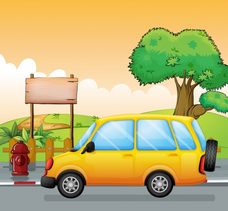 Illustration of a yellow car and an empty signage Vector