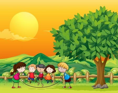 Illustration of five children playing jumping rope Vector