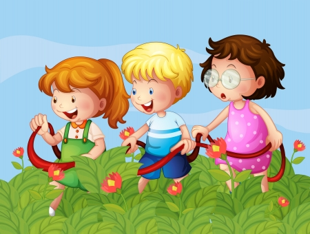 Illustration of kids at the garden Vector