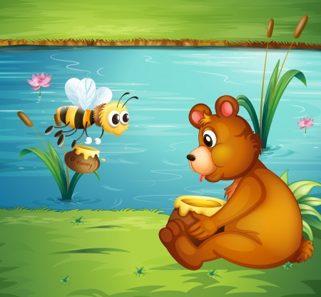 river bank: Illustration of a bear and a bee at the riverbank