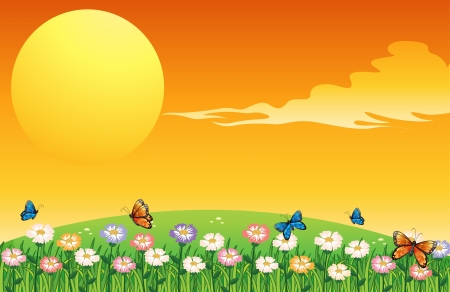 sol naciente: Illsutration de un colorido jard�n encima de las colinas