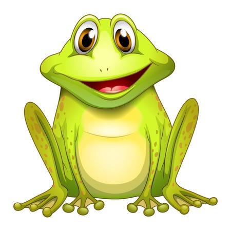 Ilustración de una rana sonriente sobre un fondo blanco