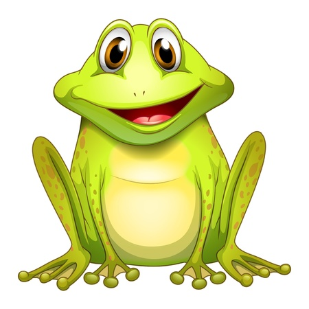 rana caricatura: Ilustración de una rana sonriente sobre un fondo blanco