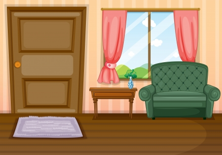 living room window: Illustration of furnitures inside the house