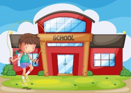 skipping: Illustration of a girl playing in front of the school