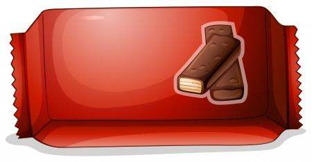 empacar: Ilustraci�n de un paquete de chocolate en un fondo blanco