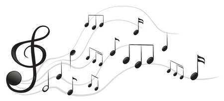 Illustration of the different musical notes on a white background Vector