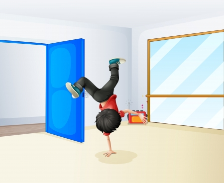 alone man: Illustration of a boy dancing inside the studio Illustration