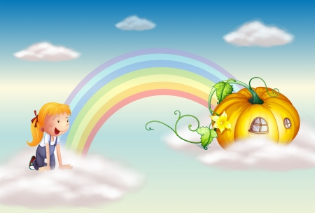 end of rainbow: Illustration of a girl seeing a squash at the end of the rainbow